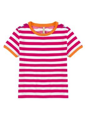 blusa meia malha juvenil feminina listrada rosa lunender hits 46790