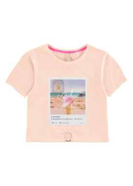blusa meia malha juvenil feminina summer salmao lunender hits 46765