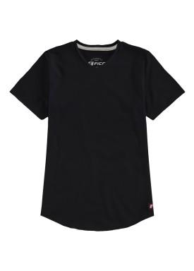 camiseta meia malha basica infantil masculina preto fico 48566