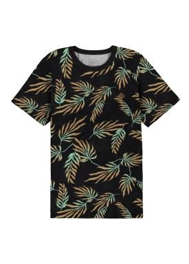 camiseta meia malha estampada infantil masculina preto fico 48565