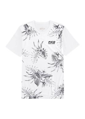 camiseta meia malha estampada juvenil masculina branco fico 48589