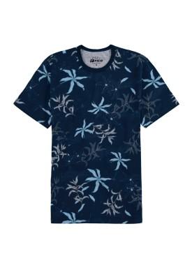 camiseta meia malha estampada juvenil masculina marinho fico 48587