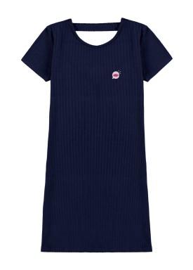 vestido malha canelada juvenil feminino marinho lunender hits 46775