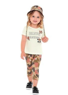 conjunto blusa capri chapeu infantil feminino panda marfim fakini 2505 1