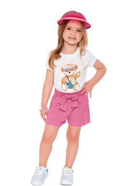 conjunto blusa short infantil feminino sunny day branco fakini 2508 1