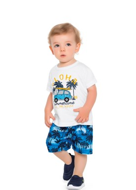 conjunto camiseta e bermuda bebe masculino aloha branco fakini forfun 2177 1
