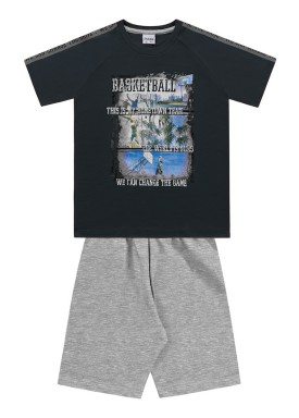 conjunto camiseta e bermuda infantil juvenil masculino basketball asfalto fakini 2260