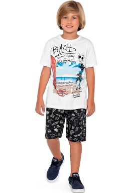 conjunto camiseta e bermuda infantil masculino beach branco fakini forfun 2187 1