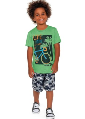 conjunto camiseta e bermuda infantil masculino bike verde fakini forfun 2189 1