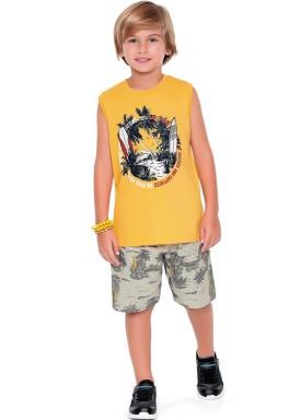 conjunto regata e bermuda infantil juvenil masculino coqueiros amarelo fakini 2254 1