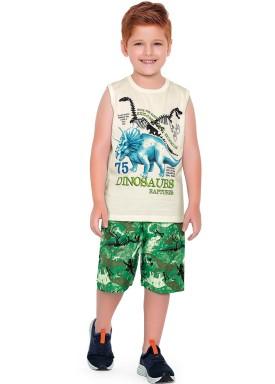 conjunto regata e bermuda infantil masculino dinosaurs marfim fakini forfun 2188 1