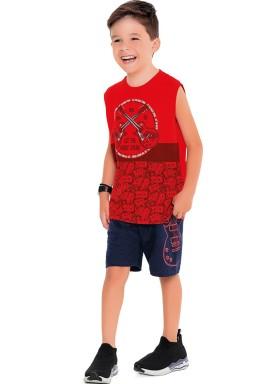 conjunto regata e bermuda infantil masculino music vermelho fakini 2277 1