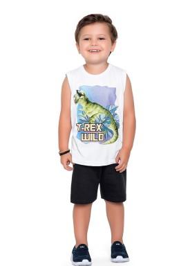 conjunto regata e bermuda infantil masculino trex branco fakini forfun 2185 1