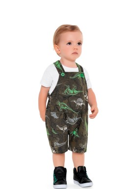 macacao curto moletinh bebe masculino dinos verde fakini 2210 1