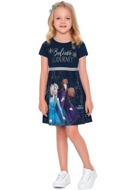vestido meia malha infantil feminino frozen marinho fakini 2434 1