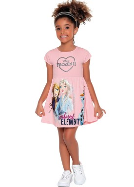vestido meia malha infantil feminino frozen rosa fakini 2437 1