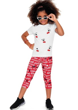 conjunto blusa e capri infantil feminino cherries branco fakini 2088 1