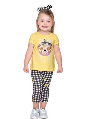 conjunto blusa e capri infantil feminino flowera amarelo fakini forfun 2159 1