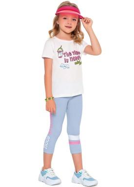 conjunto blusa e capri infantil feminino time is now branco fakini 2091 1