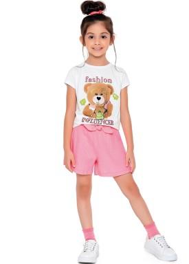 conjunto blusa e short infantil feminino influencer branco fakini 2092 1