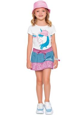 conjunto blusa e short saia infantil feminino unicorns branco fakini 2096 1