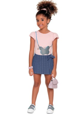 conjunto body e short saia infantil feminino butterfly rosa fakini 2073 1
