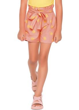 short malha stretch infantil feminino bolinhas rosa fakini 2103 1