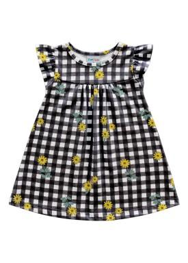 vestido meia malha bebe feminino flores preto fakini forfun 2150