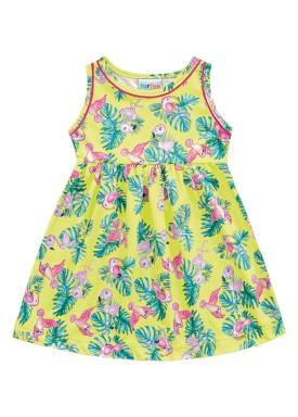 vestido meia malha bebe feminino passaros amarelo fakini forfun 2154