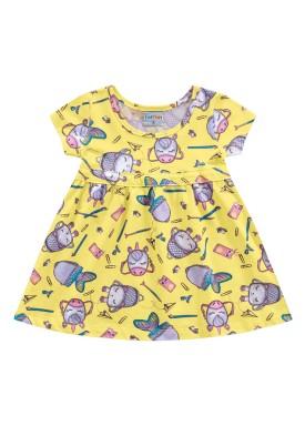 vestido meia malha bebe feminino school amarelo fakini forfun 2152