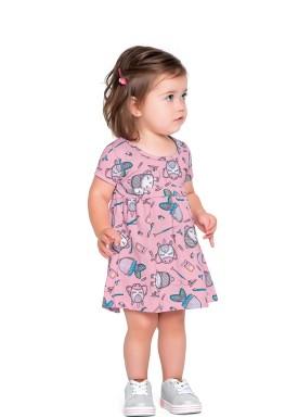 vestido meia malha bebe feminino school rosa fakini forfun 2152 1