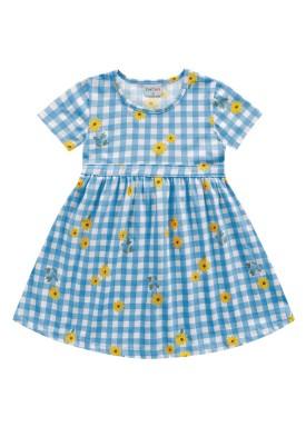 vestido meia malha infantil feminino flores azul fakini forfun 2160