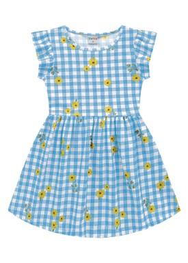 vestido meia malha infantil feminino flores azul fakini forfun 2166