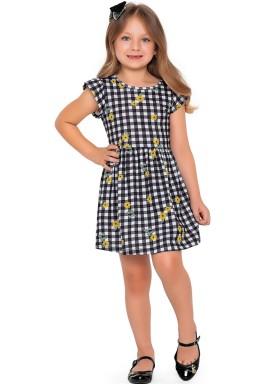 vestido meia malha infantil feminino flores preto fakini forfun 2166 1