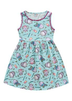 vestido meia malha infantil feminino school azul fakini forfun 2169