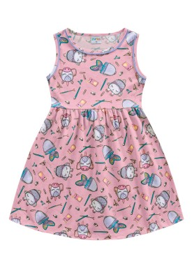 vestido meia malha infantil feminino school rosa fakini forfun 2169