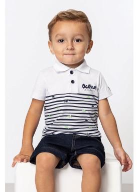 camisa polo meia malha bebe masculino ocean branco dingdang 851102 1