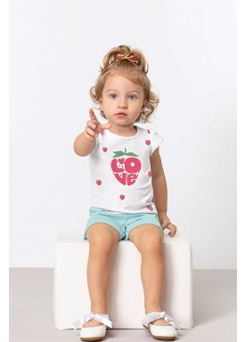 conjunto blusa e short bebe feminino love branco dingdang 851007 1