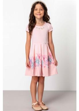vestido jacquard infantil feminino ocean rosa dingdang 853401 1