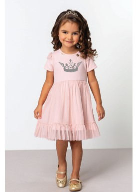 vestido jacquard tule infantil feminino queen rosa dingdang 853202 1
