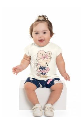 conjunto blusa e ciclista bebe feminino ursinho natural beeloop 13839 1
