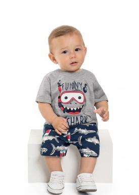 conjunto camiseta e bermuda bebe masculino funy shark mescla beeloop 13864 1