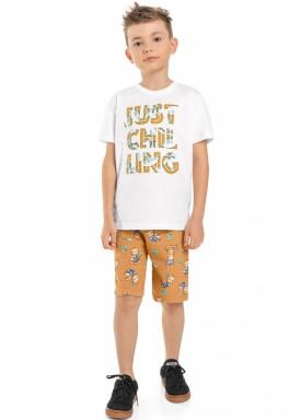 conjunto camiseta e bermuda infantil masculino chilling branco beeloop 13867 1