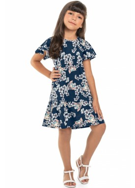 vestido meia malha infantil juvenil feminino flores marinho beeloop 13846 1