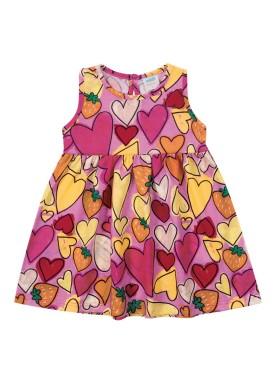 vestido meia malha bebe feminino coracoes rosa marlan 40435 1