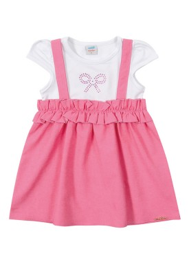 vestido chambray bebe feminino rosa marlan 40429