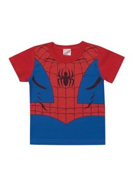 camiseta meia malha bebe masculina homem aranha vermelho marlan a6010