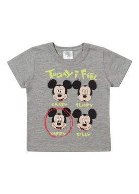 camiseta meia malha bebe masculina mickey mescla marlan d4194