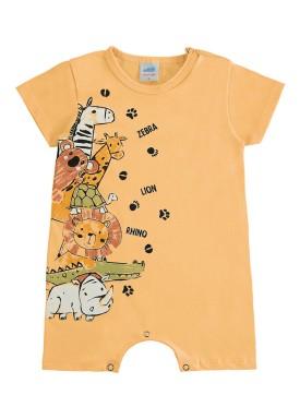 macacao curto meia malha bebe masculino animais amarelo marlan 60411