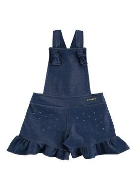 macaquinho molecotton jeans bebe feminino marinho marlan 60393